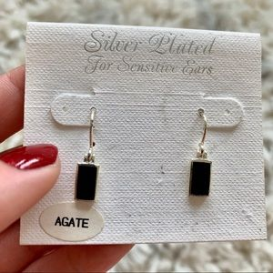 Sterling Silver Black Agate Earrings